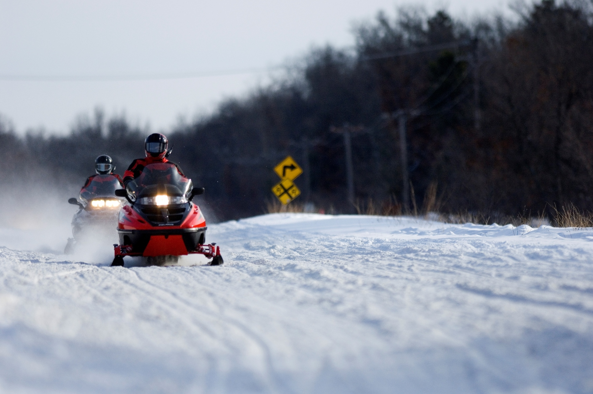 red-snowmobiles